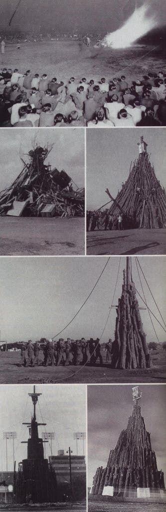 Right, from top: first known photo, 1924; heap of trash, 1933; tepee style with center pole, 1949; toting a log, 1957; new layered wedding-cake style, 1978; six tiers, 55 feet high, 1996.