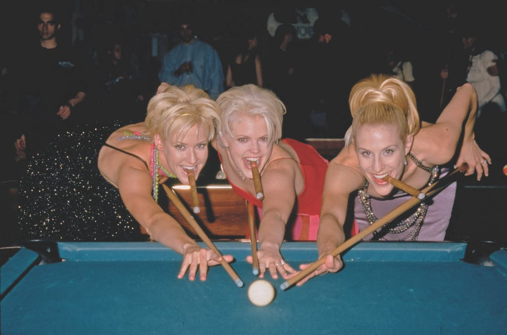 Martie, Natalie, and Emily at a party after winning the Vocal Group of the Year and Horizon awards at the thirty-second annual Country Music Association Awards, on September 23, 1998.