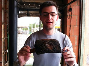 Posing with a beef rib