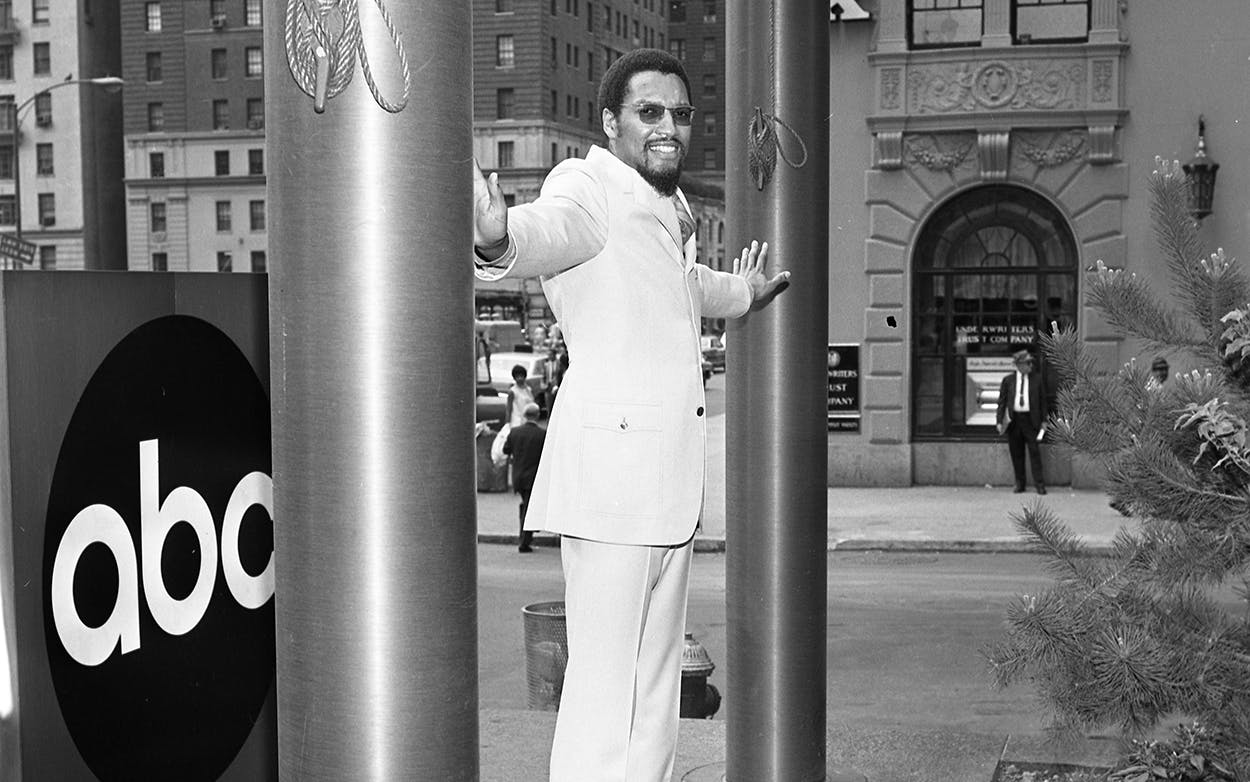 "Record producer and DJ Tom Wilson outside ABC Studios, in New York, to promote his radio show ""The Music Factory"" on June 21, 1967."