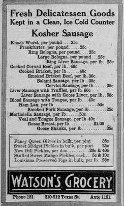 Watson's Grocery brisket ad