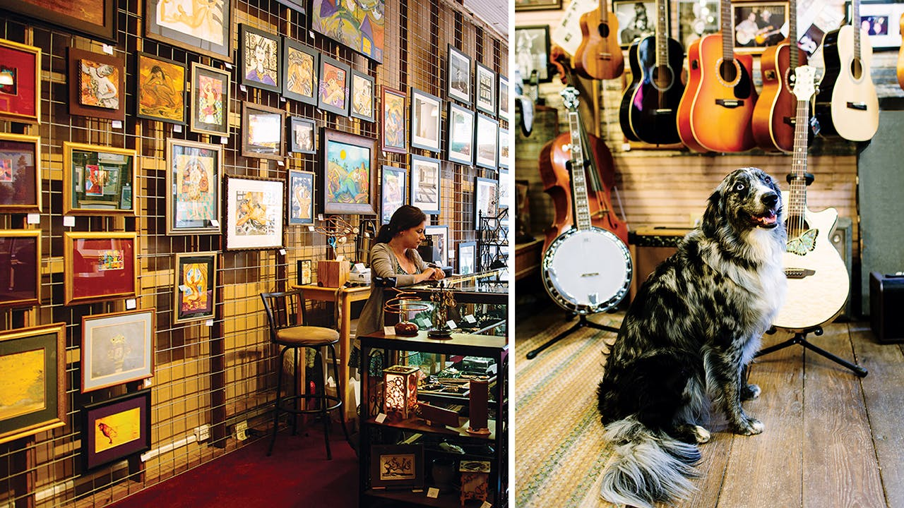 More than eighty artists are represented at Art Connections Gallery (left); the shop mascot at LarryLand (right).