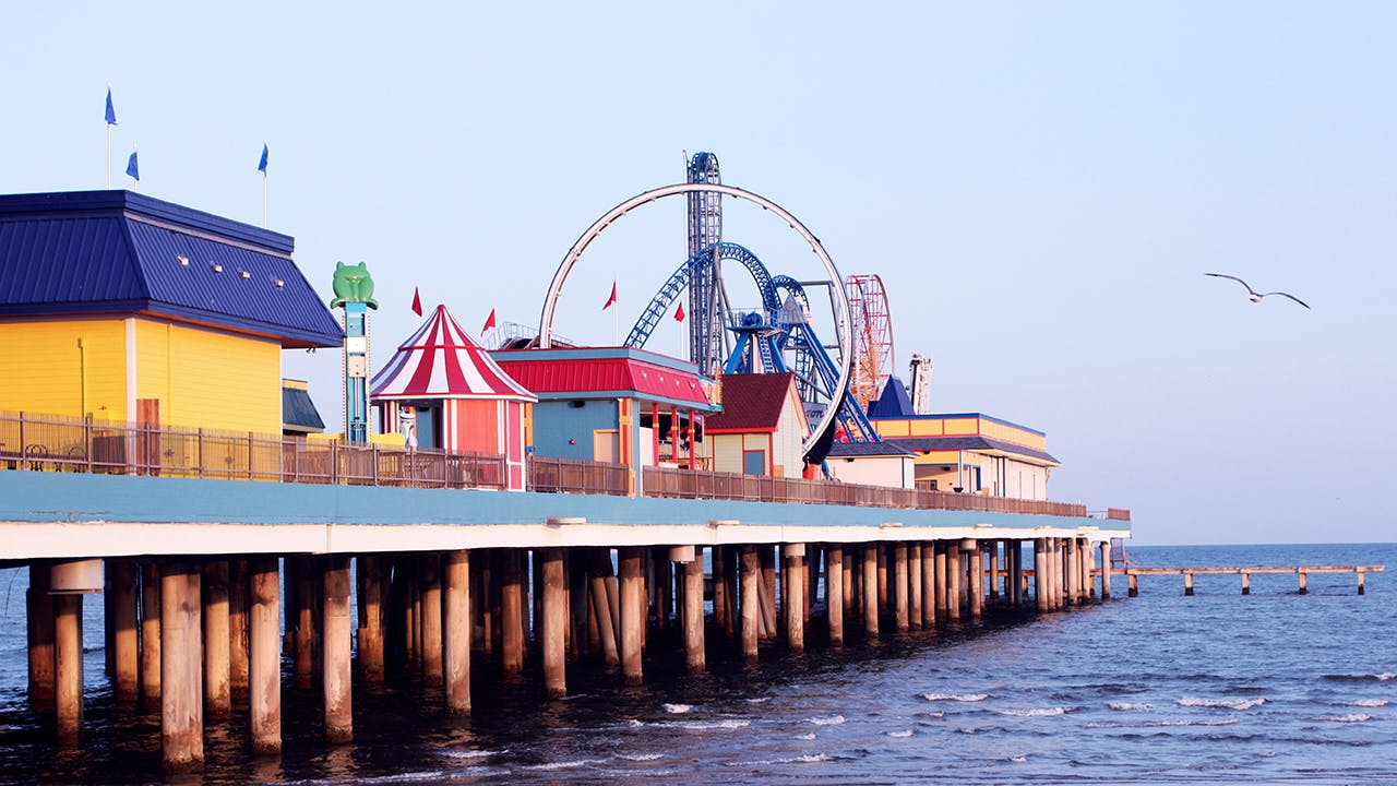 Take the kiddos to Pleasure Pier to ride the Iron Shark roller coaster and Pirate's Plume log flume.