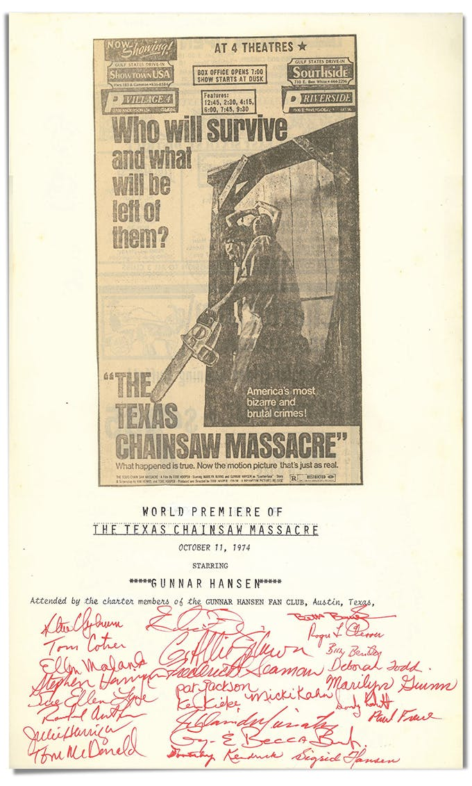 The charter of the Gunnar Hansen Fan Club, which was presented to Hansen on October 11, 1974, along with a vintage chainsaw.