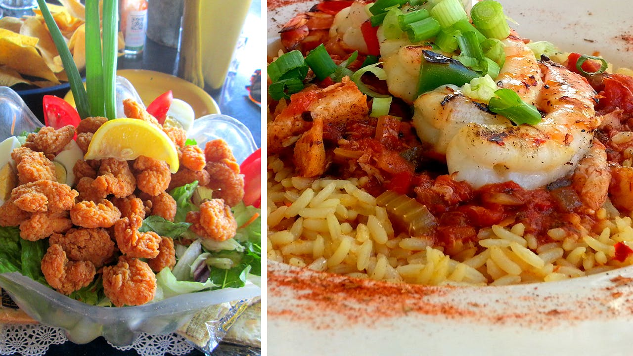 Seafood suppers at Virginia's On the Bay (left) and Trout Street Bar and Grill (right).
