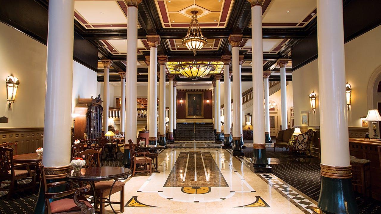The Romanesque Revival lobby at the Driskill Hotel.