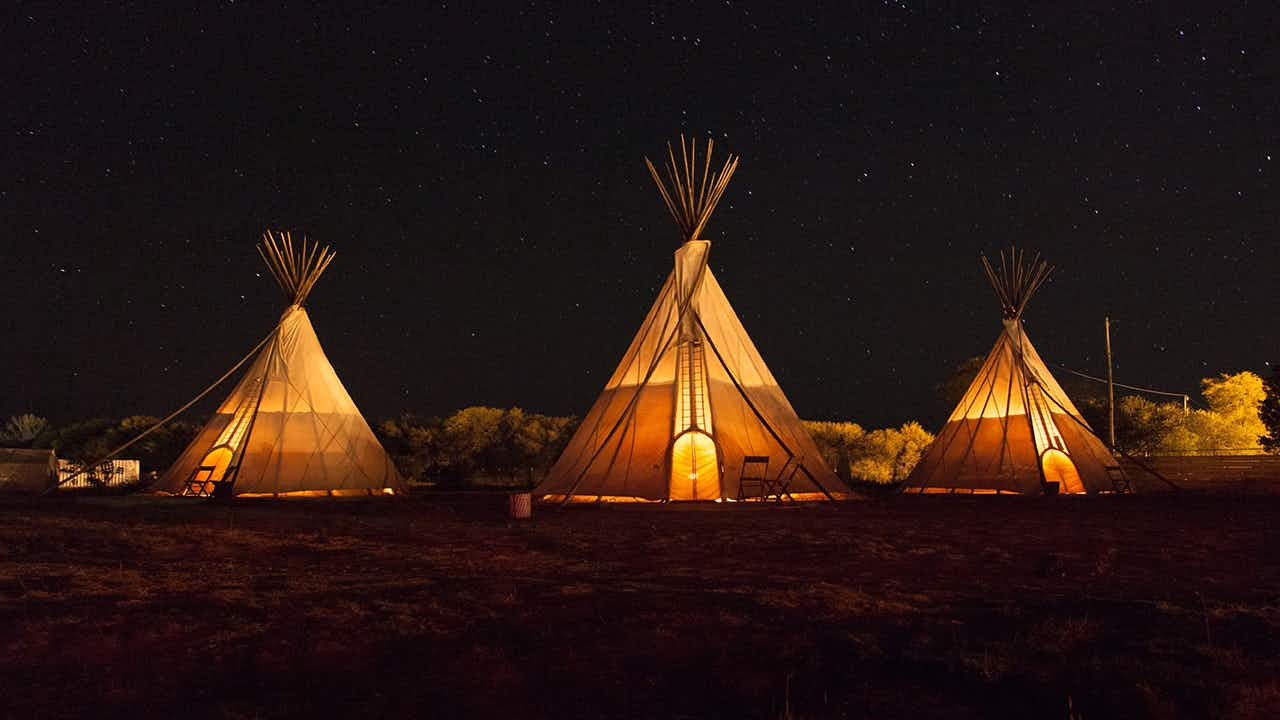 Spend the night in a tepee at El Cosmico.
