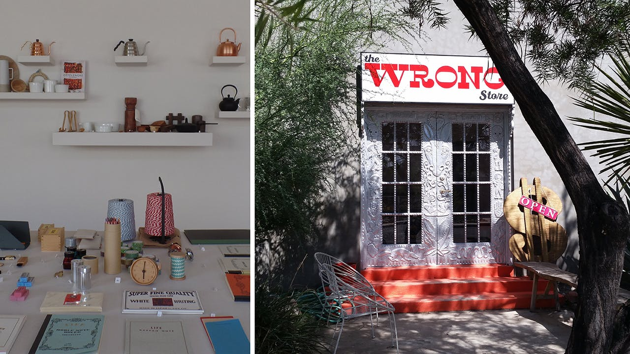 The interior at Mirth (left) and the exterior of Wrong Marfa (right).