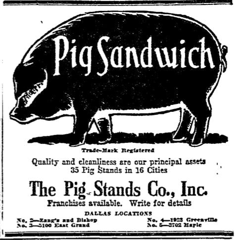 Pig Stand 1924 DMN ad