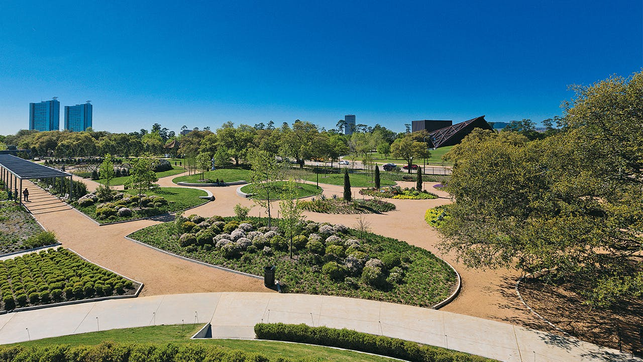 The view of McGovern Centennial Gardens from the mount.