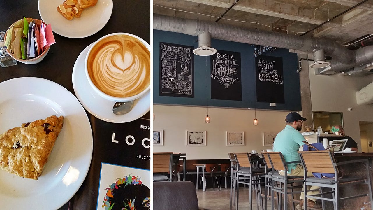 Coffee and pastries at Woodbar (left) and the interior of Bosta Kitchen (right).