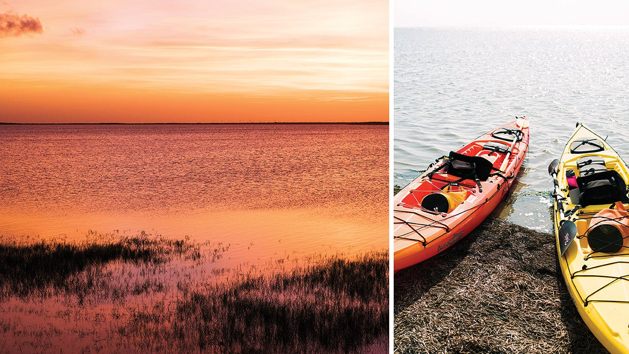 Sunset at Osprey Point (left) and kayaks on the Laguna Madre (right).