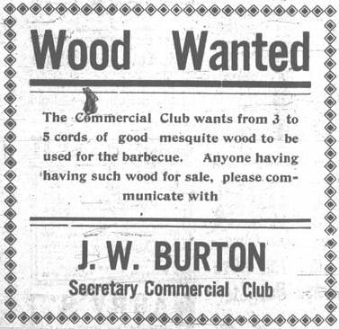 1913 ad for mesquite wood