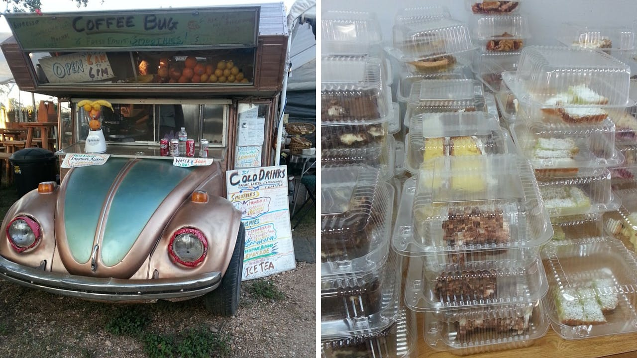 The Coffee Bug, parked in Warrenton, and fresh pies for sale at the Carmine Dance Hall.