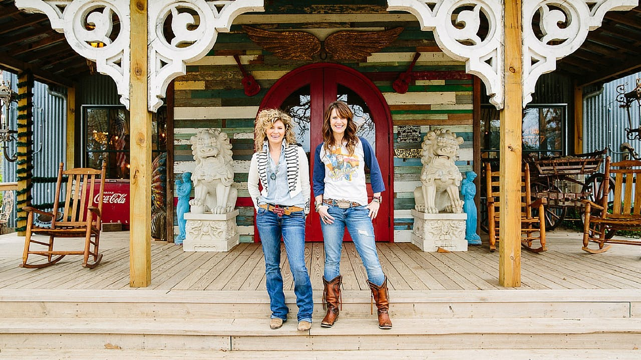 The Junk Gypsy sisters, Amie and Jolie Sikes, outside their World Headquarters.