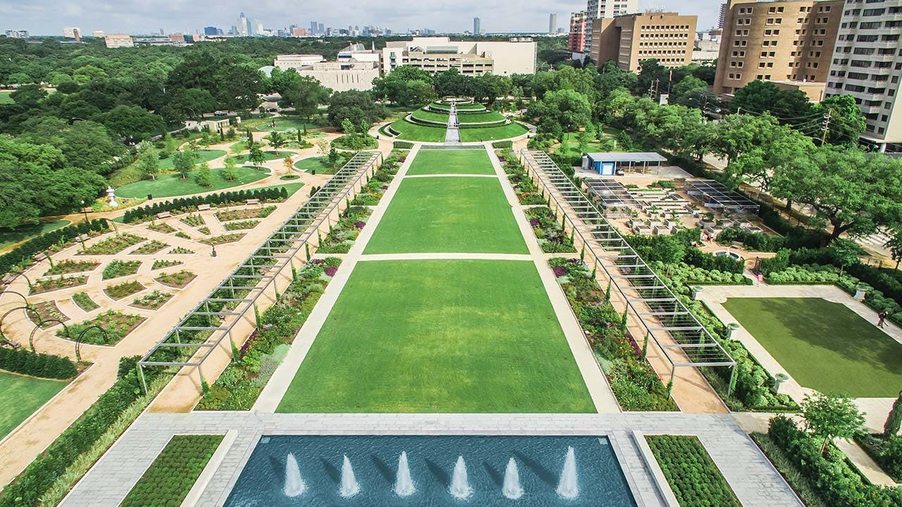 The renovated Centennial Gardens, at Hermann Park, which has undergone a $100 million restoration.