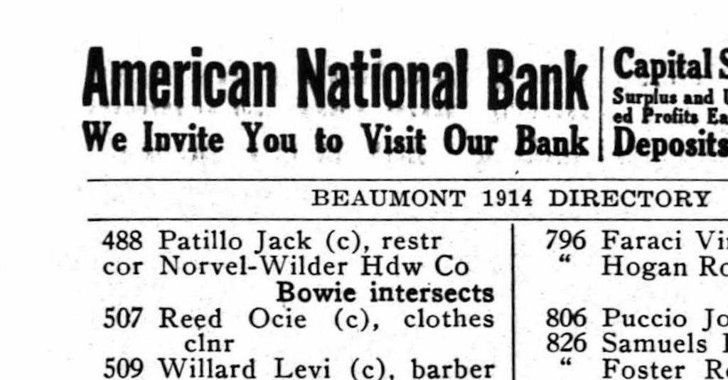 1914 Beaumont Directory crop
