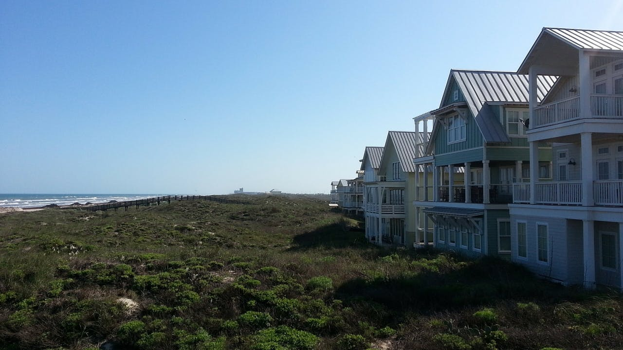 A row of beachfront homes in Port Aransas.