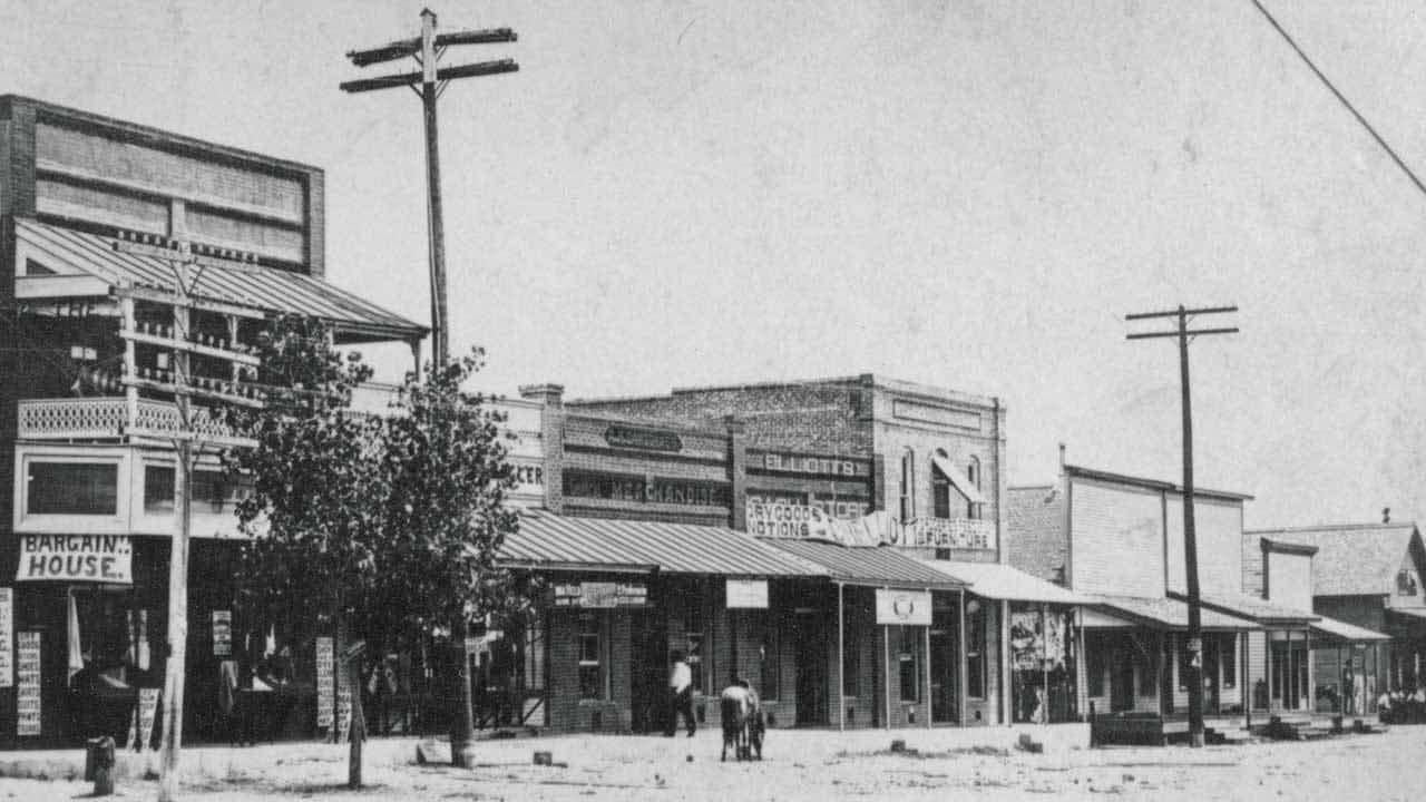 The main street of Trinity, photographed sometime between 1910 and 1920.