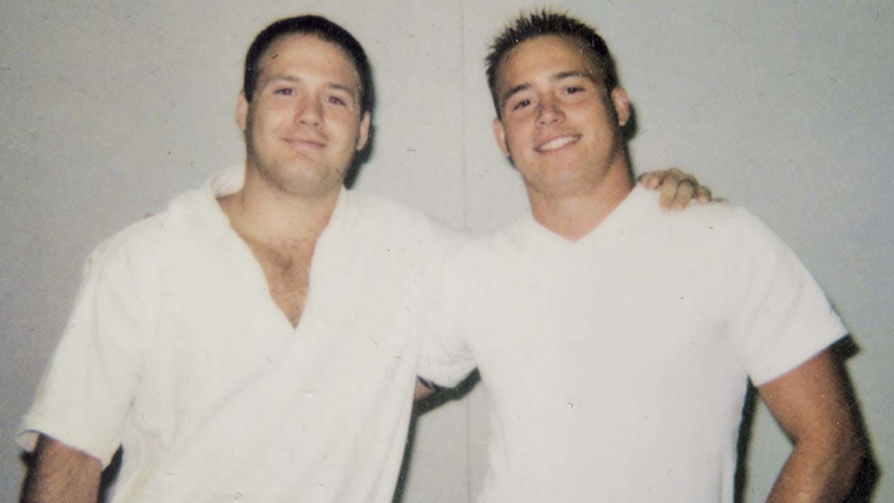 Greg (left) and his brother at the Middleton Unity, in 1999.