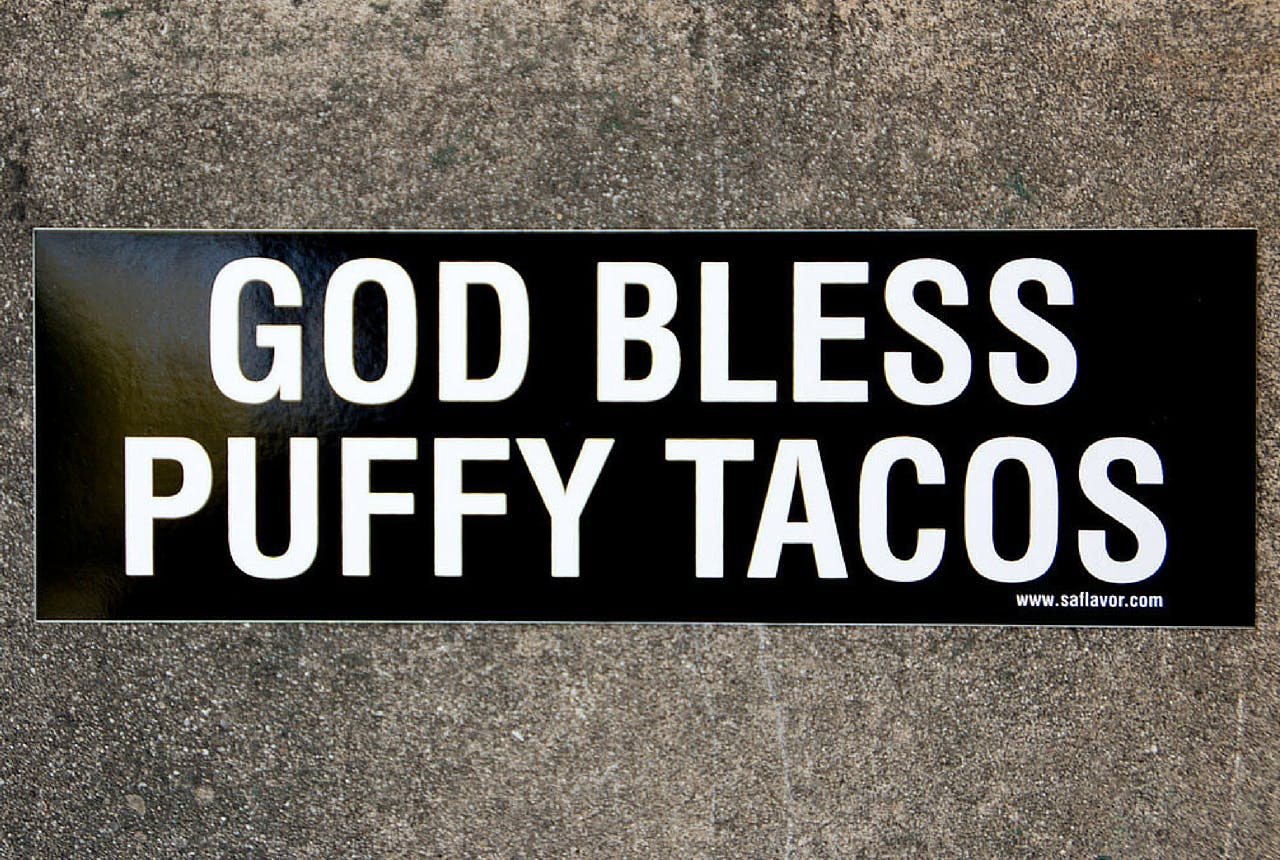 God Bless Puffy Tacos bumper sticker gift guide