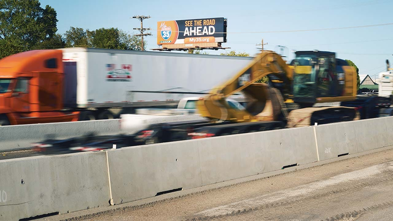 A TxDOT billboard overlooking I-35 near Temple.