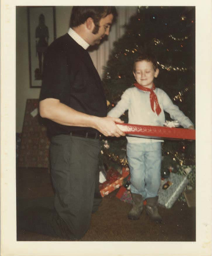 The author and his father on Christmas Day in 1970.