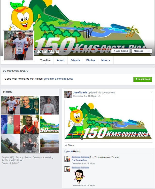 "Youssef Khater's Facebook page on December 17, 2015. He is using the name ""Josef Maria."""