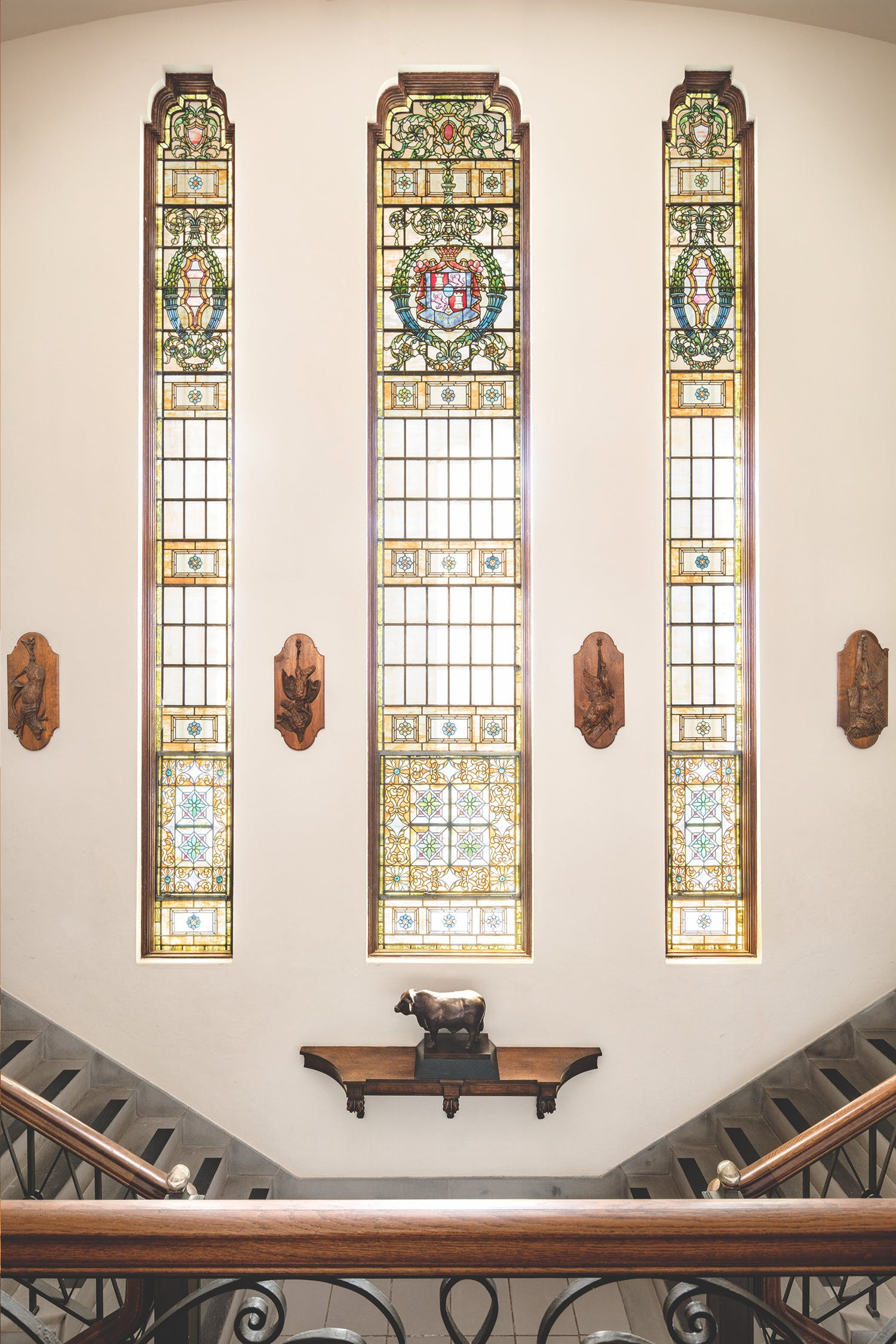 The famed Tiffany windows contain nine thousand pieces of stained glass.