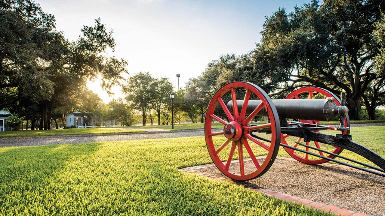 A cannon, from one of Captain King's riverboats, was placed on the grounds to protect the house.