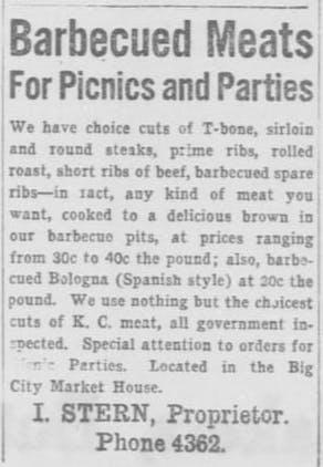Sterns BBQ ad 1917 El Paso Herald