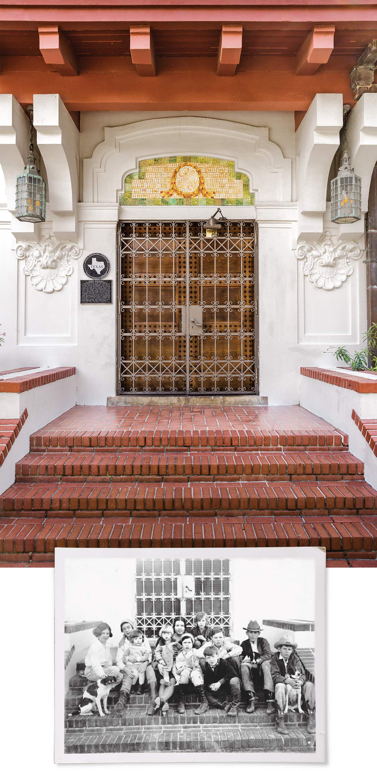 The north entrance to the house features art glass inlaid with the letter K above the door and an ornamental gate designed by Tiffany; the members of the King family sit outside that same north entrance in an undated photo.