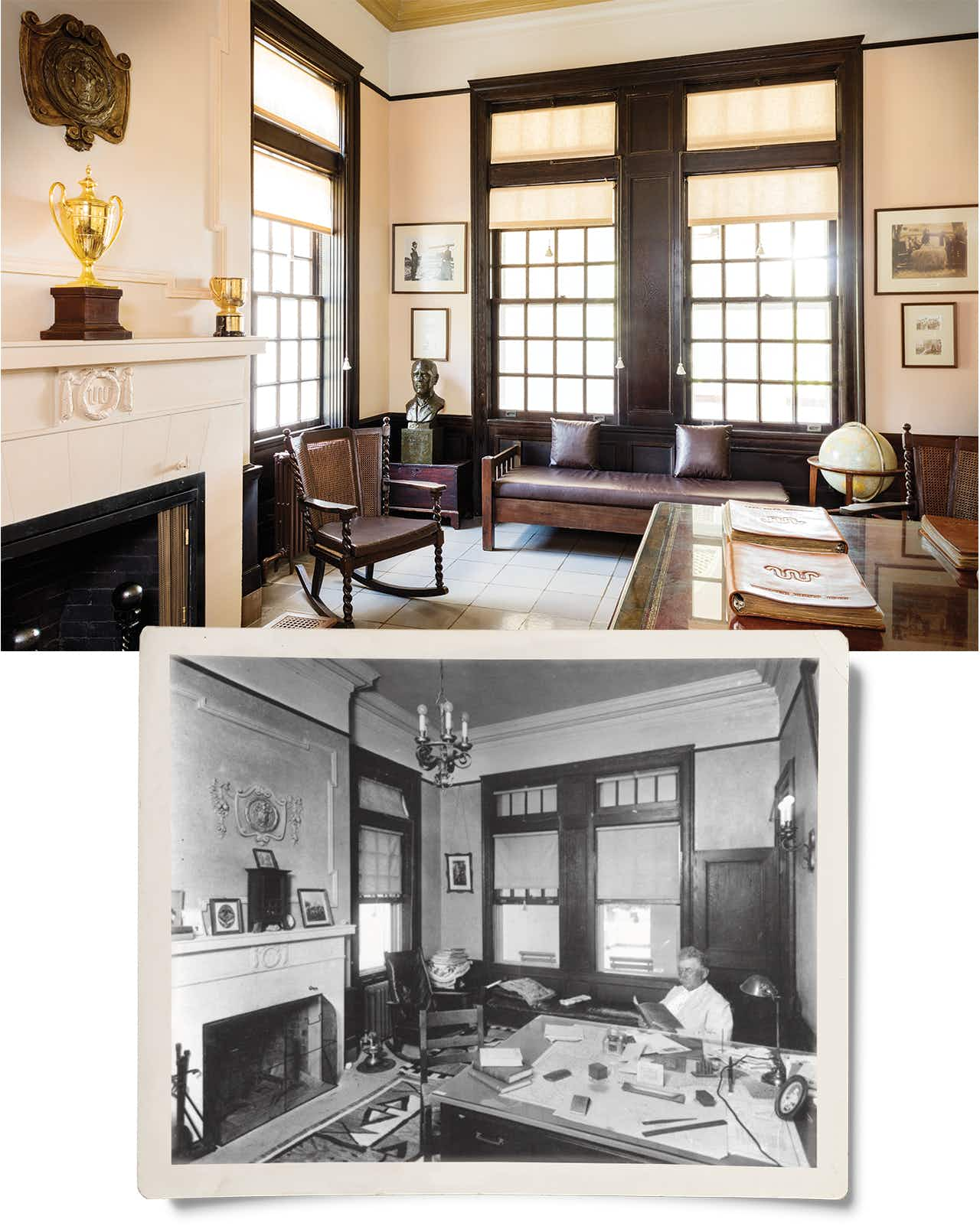 The house includes the original office of Captain King's son-in-law Robert J. Kleberg Sr., who is pictured in the inset photo.