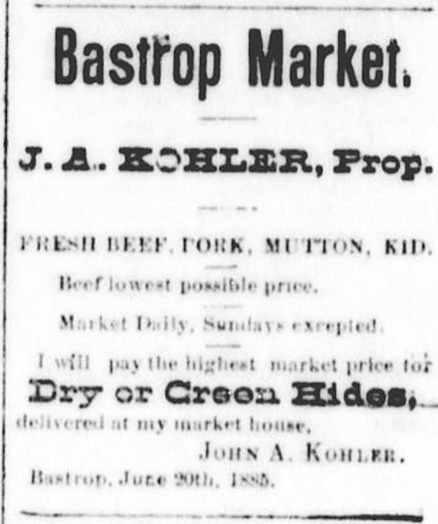 Bastrop 1886 Bastrop Market Kohler