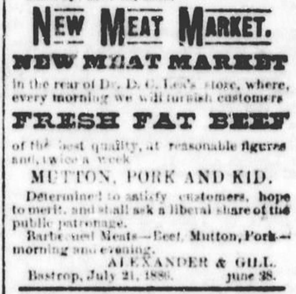 Bastrop 1886 New Meat Market Gill