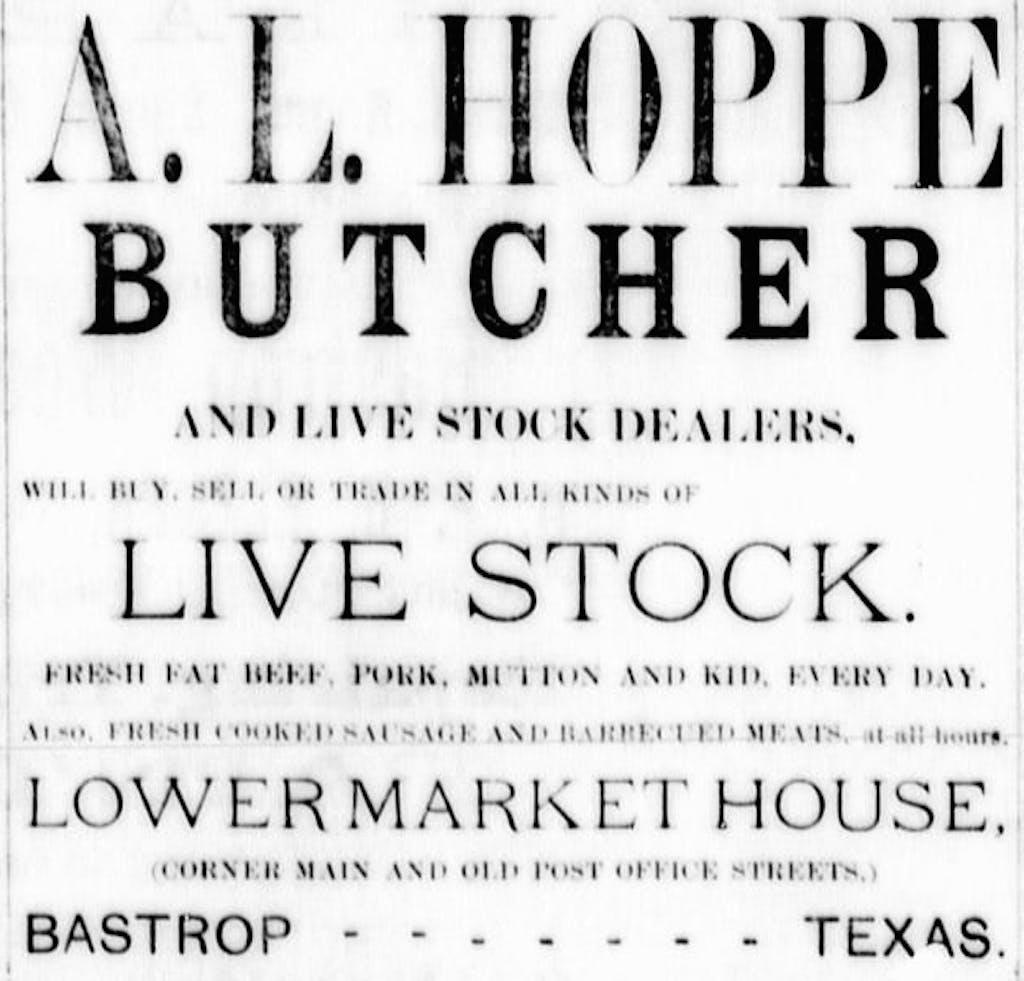 Bastrop 1889 A L Hoppe Butcher