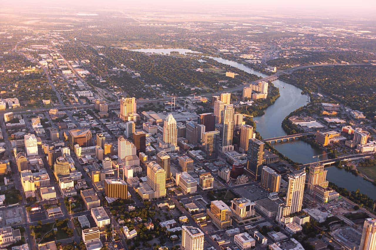 An aerial view of downtown taken in 2015.