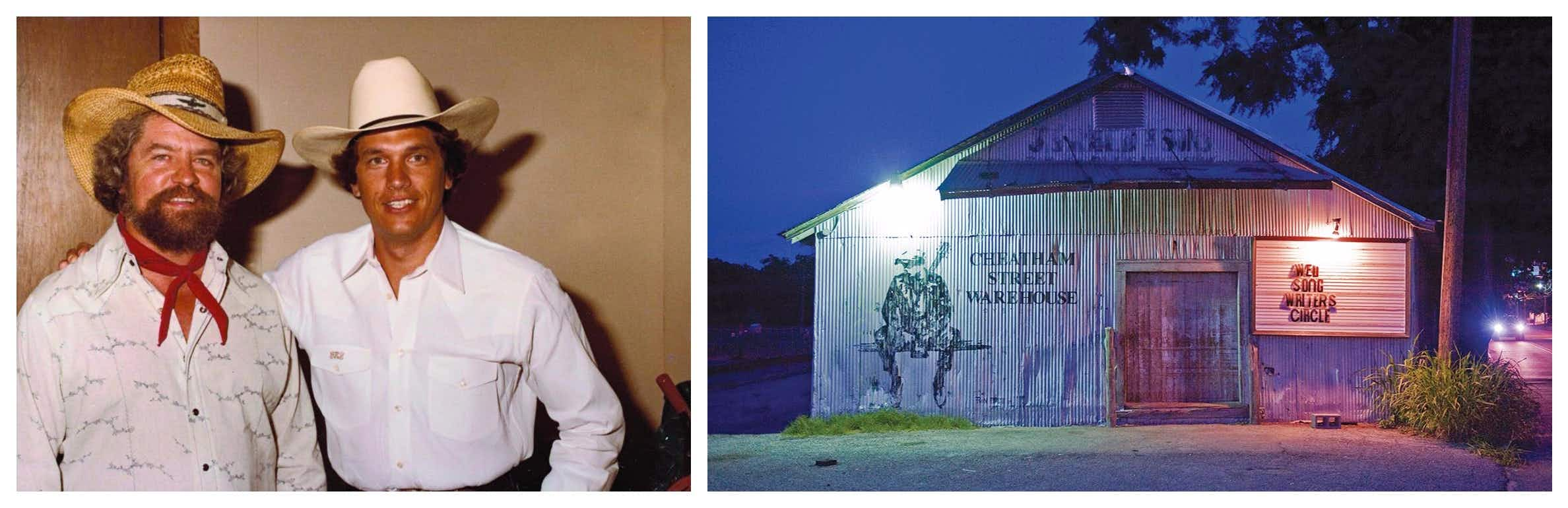 From left: Kent Finlay and George Strait in 1982. Cheatham Street Warehouse.