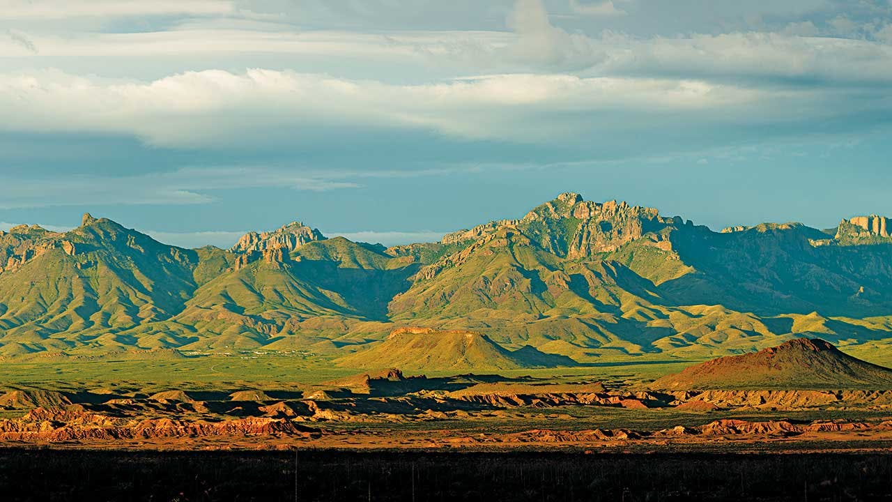 The Chisos Mountains, photographed from Old Ore Road.