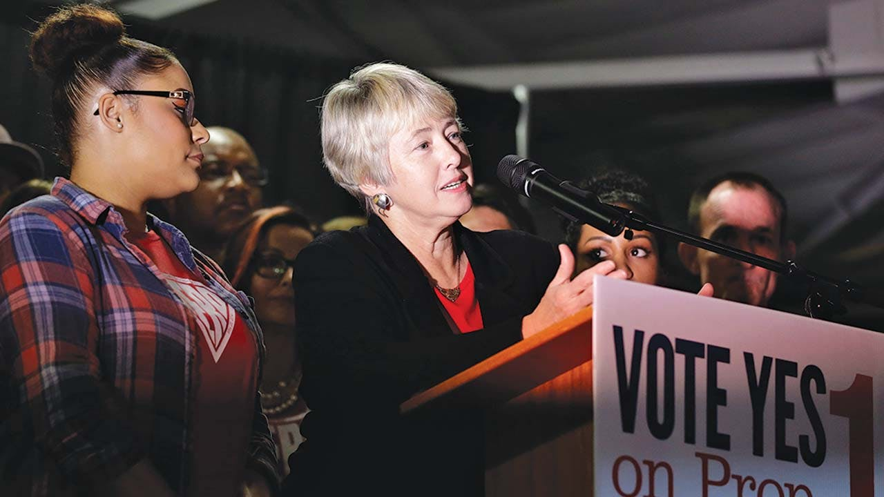 Houston mayor Annise Parker speaks to HERO supporters on Election Day, November 3, 2015.