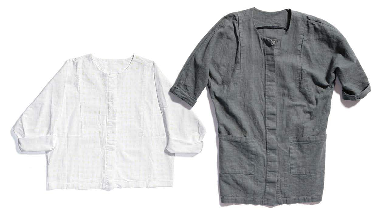 Woven cotton shirt with handprinted dots ($140) and gray tunic ($175).
