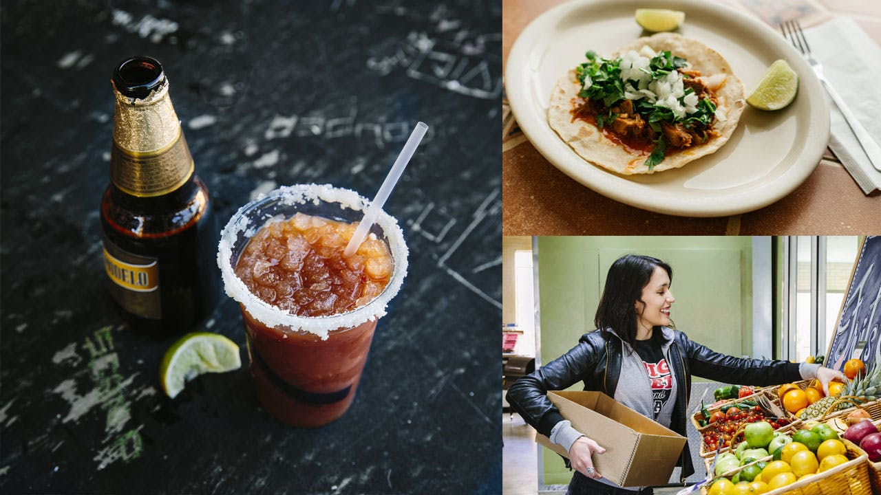 A michelada at the Friendly Spot, cabrito taco at La Barca de Jalisco (top right), and stocking up on picnic supplies at Blue Star Provisions.