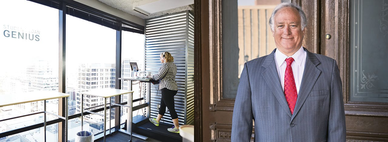 A treadmill desk at Capital Factory; state senator (and former Austin mayor) Kirk Watson, who led the movement for smart growth downtown.