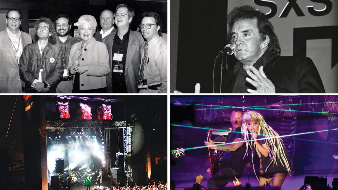 Governor Ann Richards with the directors of SXSW in 1993; Johnny Cash at the conference in 1994; Lady Gaga at her performance in 2014; the 62-foot-tall vending machine stage in 2013.