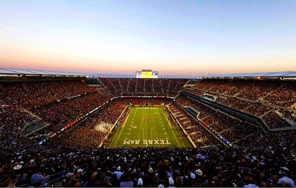 In this photo, altered with an Instagram filter, a general view of Kyle Field is seen during an NCAA college football game between the Ball State University Cardinals against the Texas A&M University Aggies at Kyle Field on Saturday September 12, 2015 in College Station, Texas. Texas A&M University won 56-23. (Aaron M. Sprecher via AP)