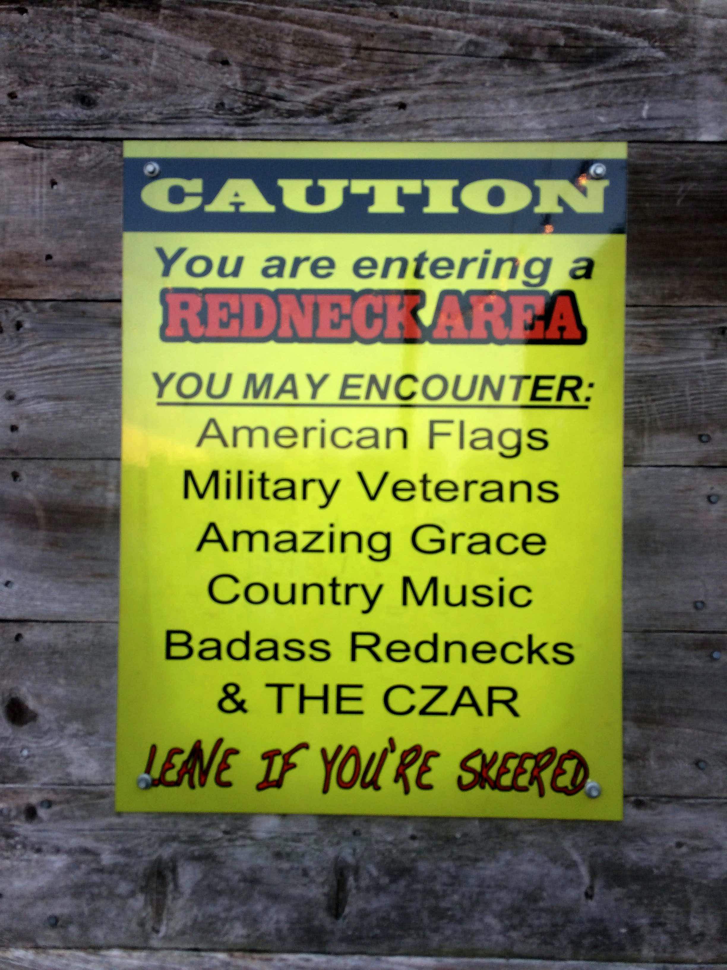 redneck sign