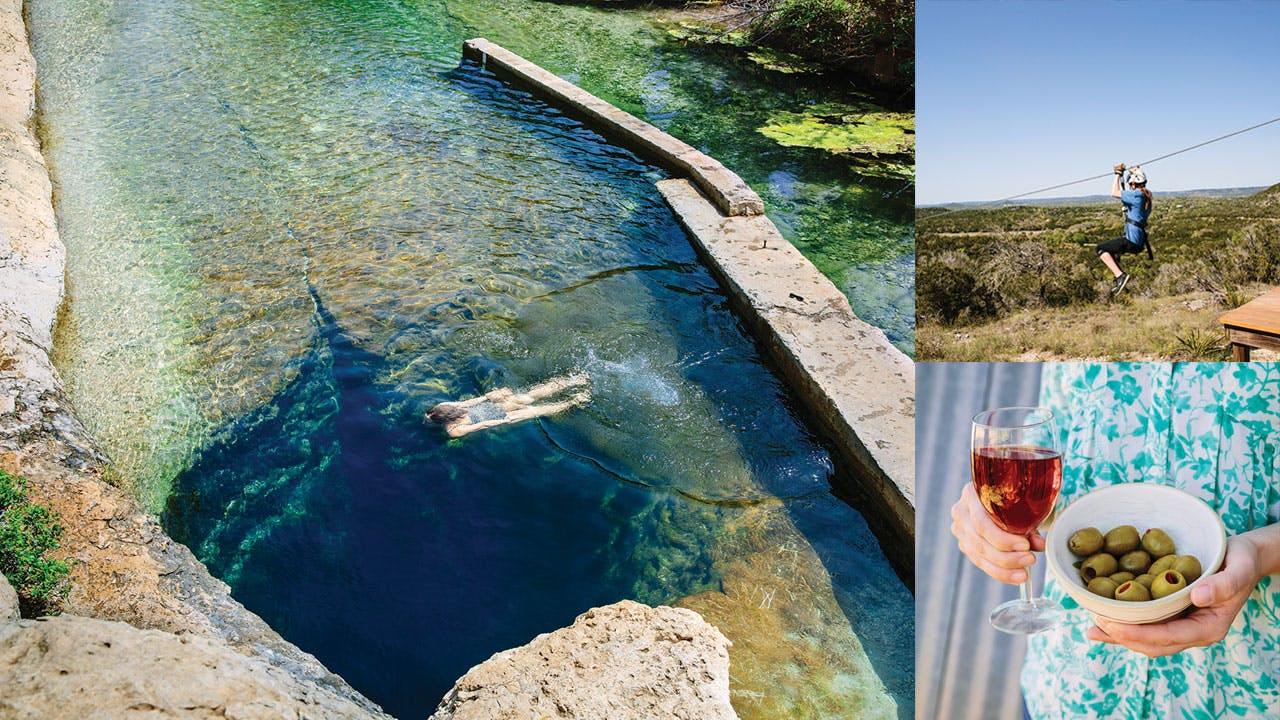 Jacob's Well, Wimberley Zipline Adventures, and Bella Vista Ranch.