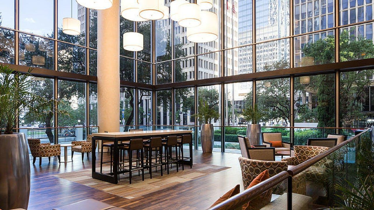The atrium of Houston's newly renovated Whitehall Hotel.
