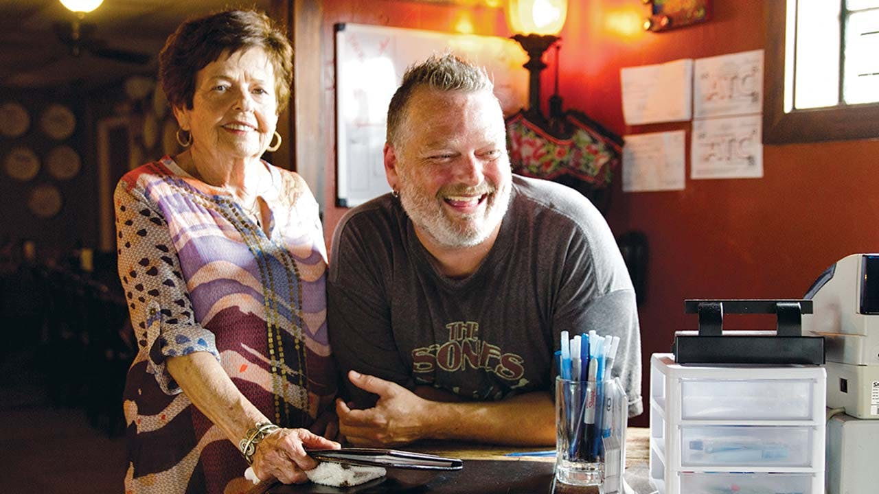 "Dorothy ""Dot"" Pere and her son Wayne at Cajun Claws."