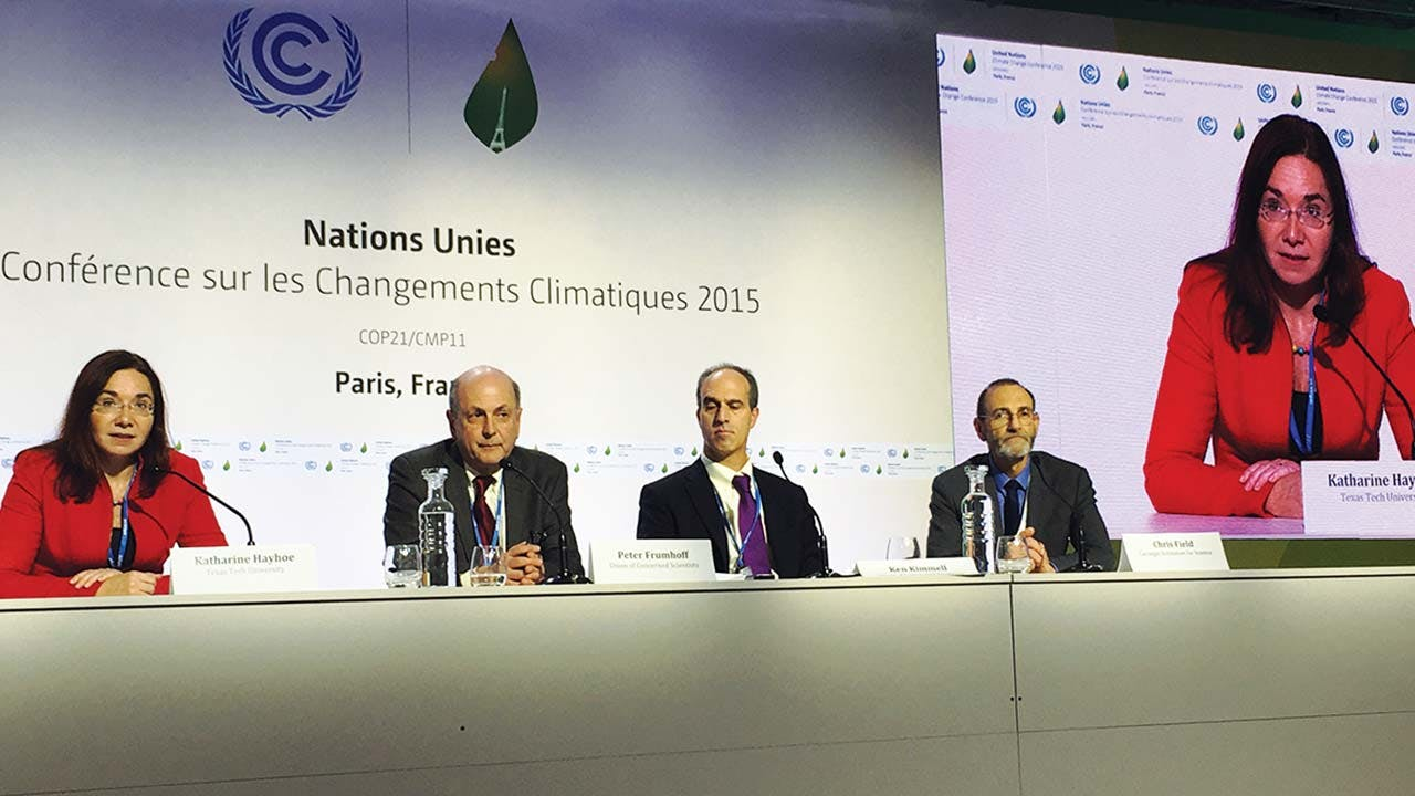 Speaking at the United Nations climate summit in Paris in 2015.